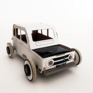 Maquette de voiture 4L en carton recyclé et éco-conçu. Jeu créatif et ludique